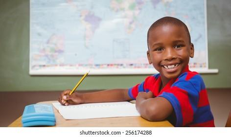 Portrait of cute little boy writing book in classroom