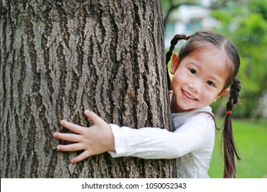 Portrait of cute little child girl hugging tree in the park.