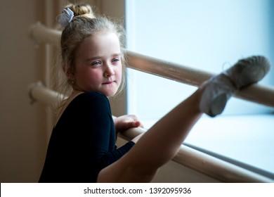 Portrait of a cute little girl in ballet class. Aspirations ballerina