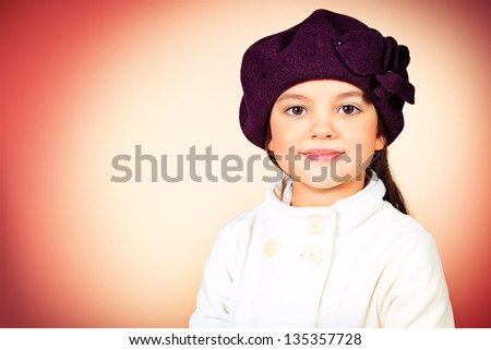 1b2c8e45fb8 Portrait Cute Little Girl Beret Coat Stock Photo (Edit Now ...