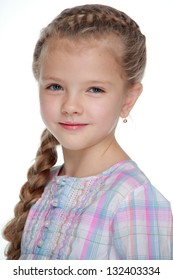Portrait of a cute little girl with blond long hair
