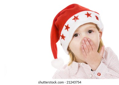 portrait of a cute little girl with christmas hat