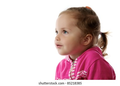 Portrait of cute little girl, isolated on white