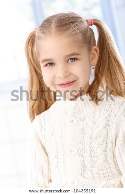 Miraculous Portrait Cute Little Girl Ponytail Smiling Stock Photo Edit Now Schematic Wiring Diagrams Amerangerunnerswayorg