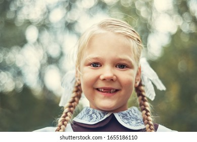 Portrait of a cute little schoolgirl girl. the child has a braid hairstyle