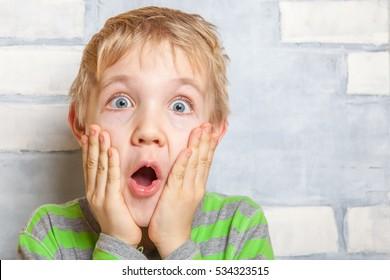 Portrait of a cute little surprised child boy