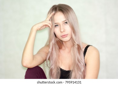 portrait of a cute lovely girl with straight white hair.