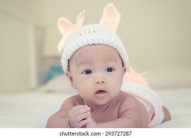 2d3966f0f Portrait Cute Newborn Baby Girl On Stock Photo (Edit Now) 302249873 ...