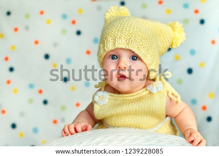 850e3f0b0d50 Portrait Cute Newborn Baby Girl Knitted Stock Photo (Edit Now ...