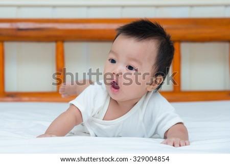 a574b8c78 Portrait Cute Newborn Baby Girl On Stock Photo (Edit Now) 329004854 ...
