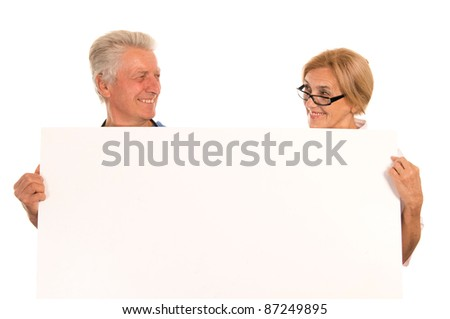 Image of: Granny Portrait Of Cute Old People With Board Shutterstock Portrait Cute Old People Board Stock Photo edit Now 87249895