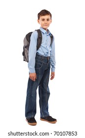 Portrait of a cute schoolboy with backpack, isolated on white background