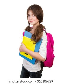 Portrait of cute schoolgirl with bag and books in hands isolated on white background, back to school, start of educational season