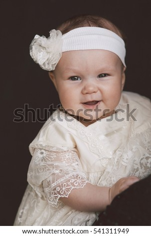 495fe2eef Portrait Cute Smiling Baby Girl White Stock Photo (Edit Now ...