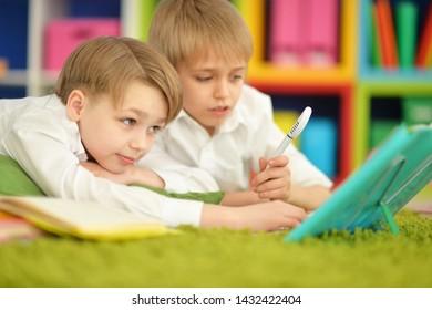 Portrait of cute two boys doing homework