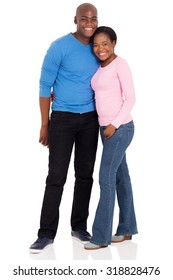 portrait of cute young afro american married couple isolated on white