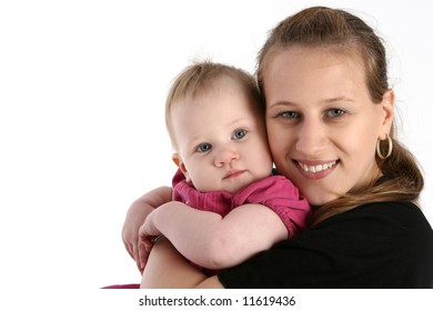 Portrait of cute young girl and her mother (isolated on white background)