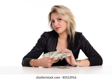 portrait of a cute young woman with money