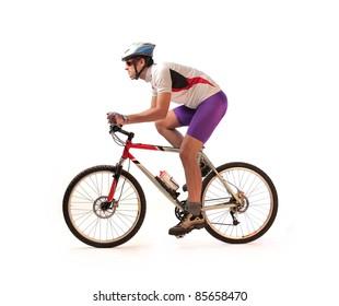 Portrait of a cyclist riding a bike