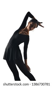 portrait of dancer girl in front of white isolated background in the studio