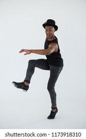 Portrait of dancer practising dance in dance studio