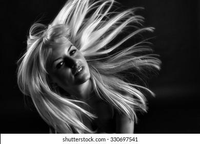 Portrait of dancing girl. Vogue style portrait of beautiful delicate woman.