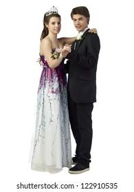 Portrait of dancing teenage couple in a romantic gesture