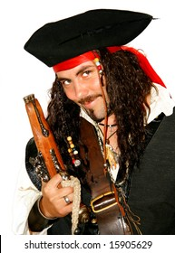 Portrait of a dangerous medieval pirate (isolated)