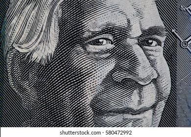 Portrait of David Unaipon closeup - Australian 50 dollar bill fragment