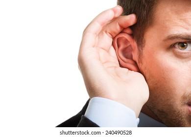 Portrait of a deaf businessman