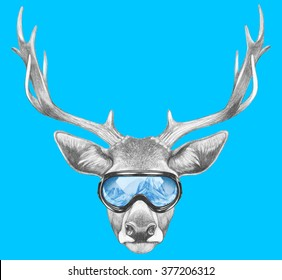 Portrait of Deer with ski goggles. Hand drawn illustration.