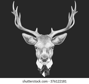 Portrait of Deer in suit. Hand drawn illustration.