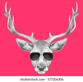 Portrait of Deer with sunglasses. Hand drawn illustration.
