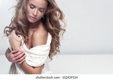 Portrait of delicate blonde woman