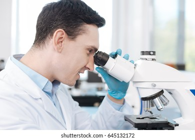 Portrait of delighted scientist while testing genetic code