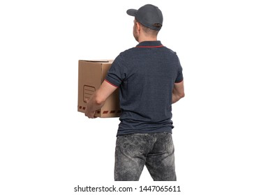 Portrait of Delivery man in cap holding big cardboard box. Handsome man. Courier - back view, isolated on white background.