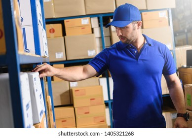 Portrait of delivery staff in blue uniform looking for particular box in warehouse