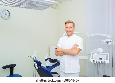 Portrait of a dentist man stands at the workplace in  dental off