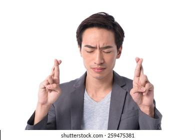 Portrait of depressed sad tired business man on white background