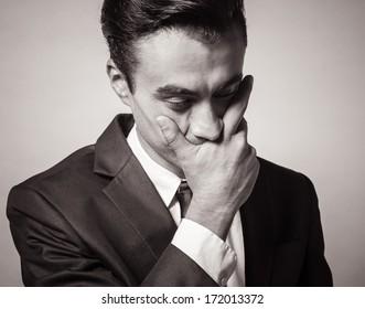 Portrait of depressed, stressed man