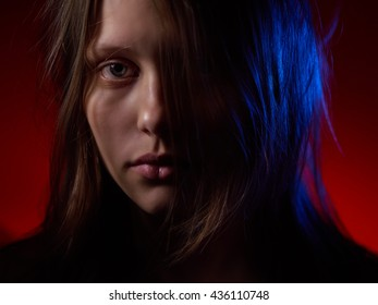 Portrait of a depressed teen girl