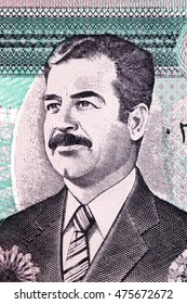 portrait of the dictator Saddam Hussein on the Iraqi paper money