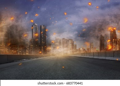 Portrait of disaster with fires and debris in the city