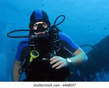 A portrait of a diver