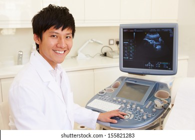Portrait Of Doctor With 4D Ultrasound Scanning Machine