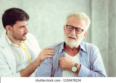 Portrait of doctor is examining physical symptom of senior patient in examination room., Healthcare and occupational concept.