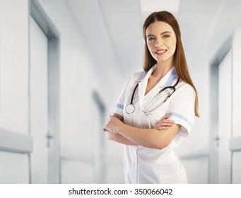 Portrait of a doctor in the hospital hallway