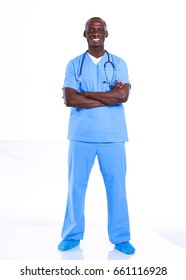 Portrait of a doctor man standing isolated on white background.