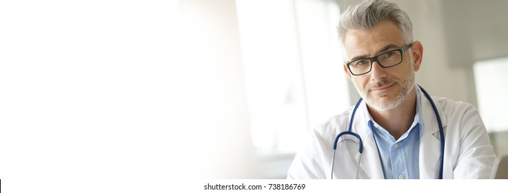 Portrait of doctor in office- template