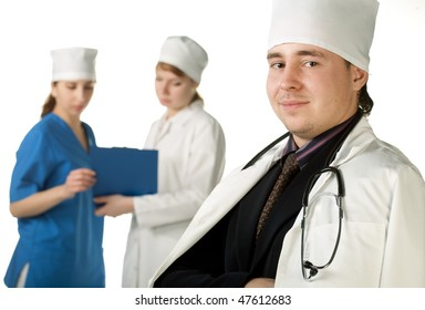 portrait of a doctor on white background